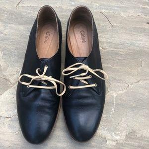 Chloé Annick Black Leather Oxford Flats Size 40/9